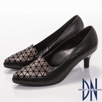 DN-都會質感-簡約造型羊皮尖頭高跟鞋-銀