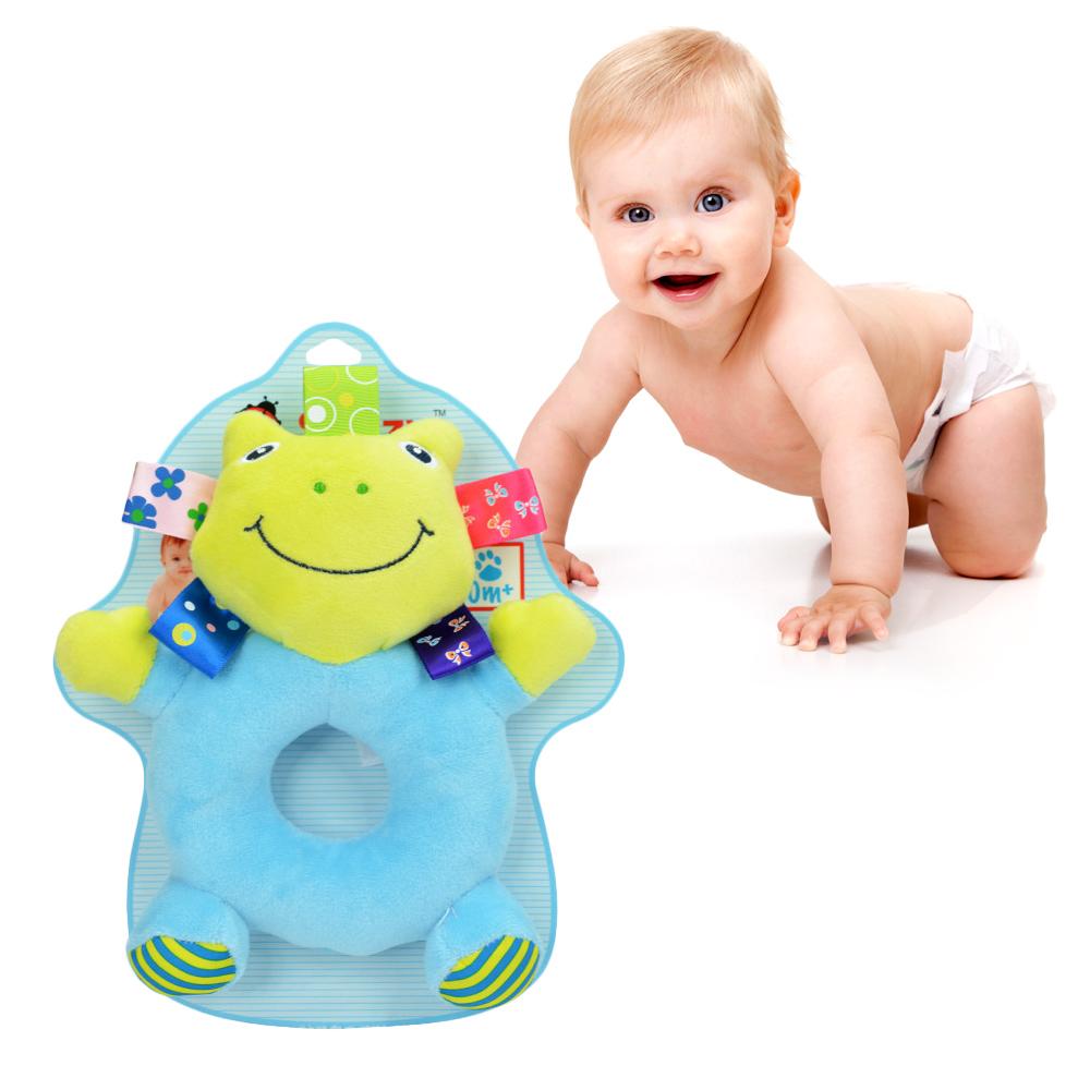 可愛頑皮動物嬰兒搖鈴圈-青蛙