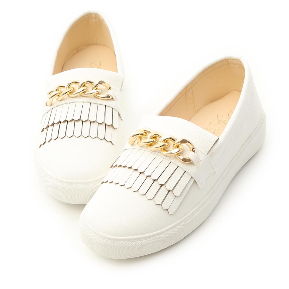 D AF質感升級金色鍊條流蘇休閒懶人鞋白