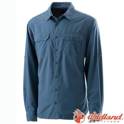 Wildland 荒野 W1202-51藍灰 男 可調節抗UV襯衫