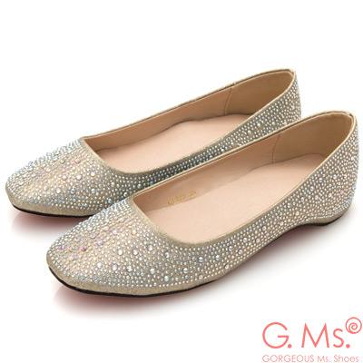 G.Ms. 水鑽金蔥新娘婚宴平底娃娃鞋-金色