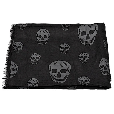 ALEXANDER MCQUEEN經典骷髏頭圖騰印花流蘇絲綢混紡披/圍巾(黑X灰)
