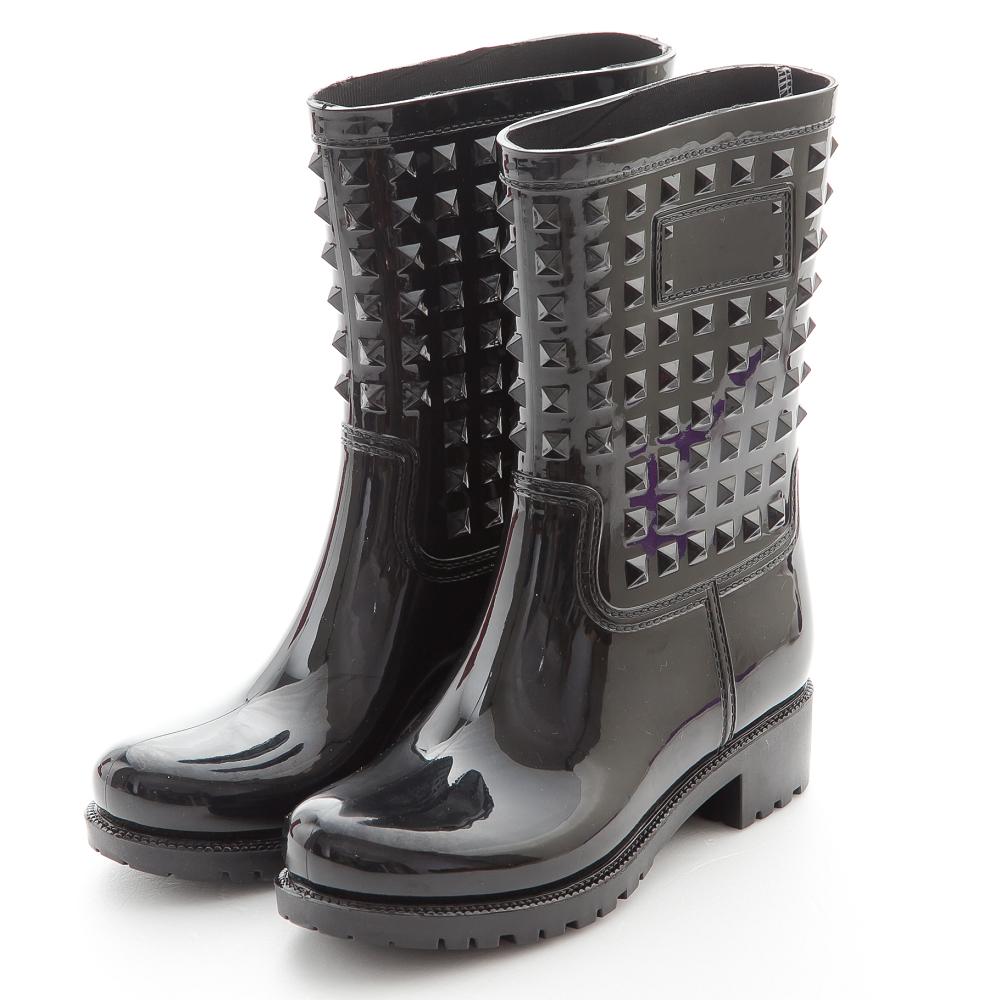 River&Moon歐美街拍風-個性鉚釘防水雨靴-黑