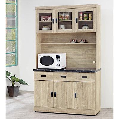 H&D 原切橡木4尺碗盤櫃組 (寬121X深43X高210.4cm)