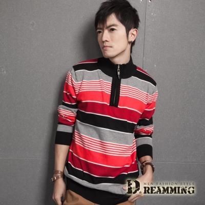 Dreamming 拉鍊立領漸層條紋針織毛線衫-共三色