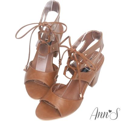 Ann'S美腿馬甲-層次綁帶粗跟涼鞋-棕
