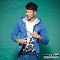 BIG TRAIN 男版雙色竹節連帽外套-男-寶藍