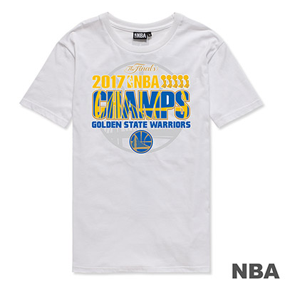 NBA-金州勇士隊2017冠軍紀念短T-白 (男)
