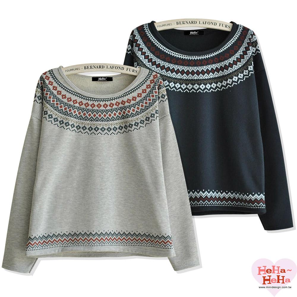 【HeHa】日系民族風復古寬鬆長袖上衣(共二色)