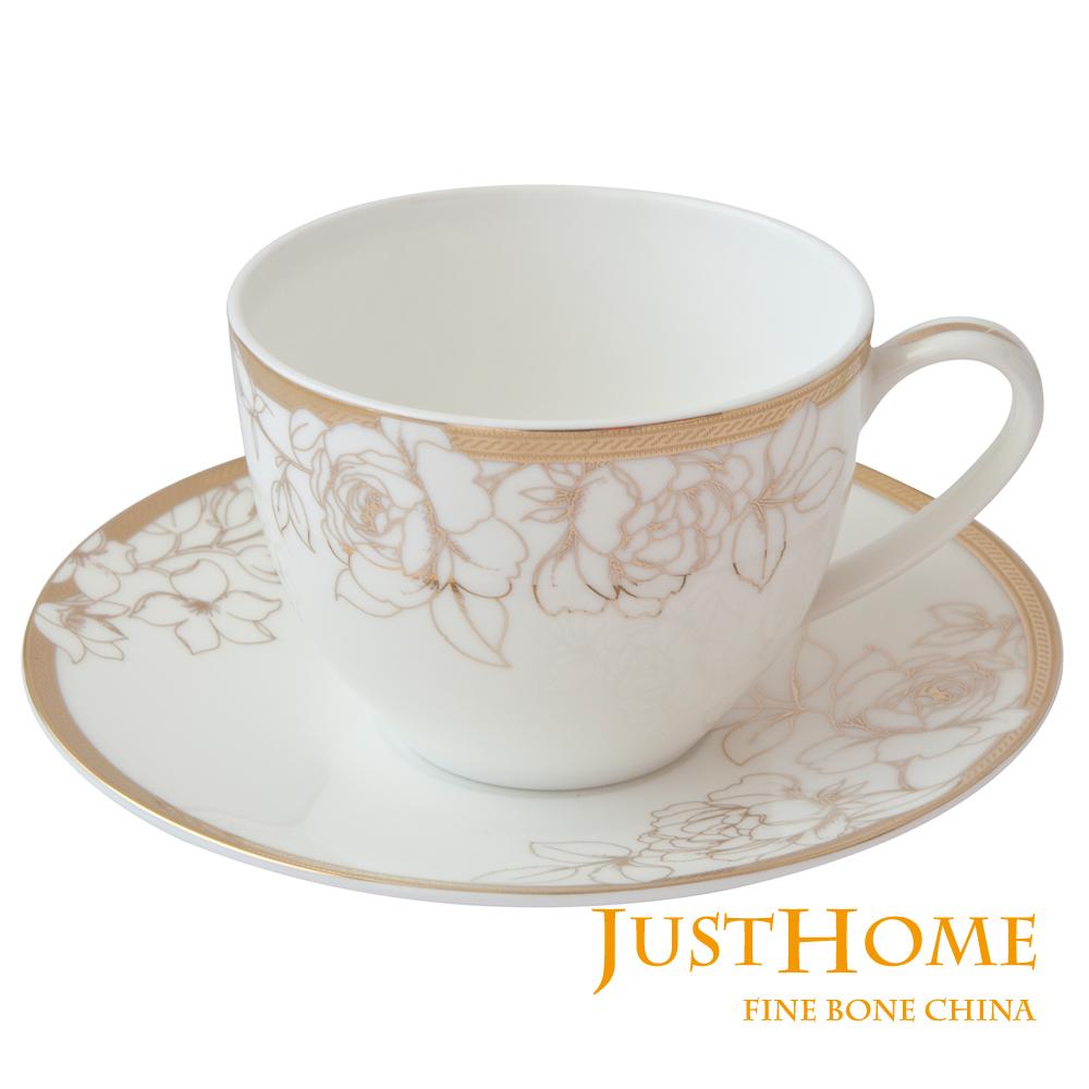 Just Home 燦金玫瑰高級骨瓷2入咖啡杯盤組(附禮盒)