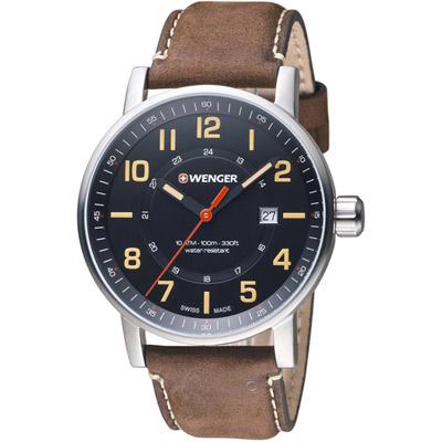 瑞士WENGER Attitude 態度系列 野營生活時尚腕錶-咖啡色/42mm