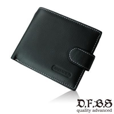 DF BAGSCHOOL皮夾 - 尊雅時尚系牛皮款舌扣男士短夾-共2色