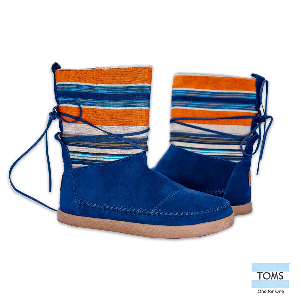 TOMS 條紋麂皮拼接雪靴-女款(藍)