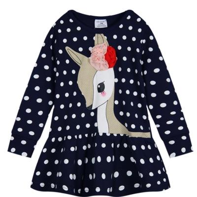 歐美風 點點小鹿 女童純棉長袖T恤