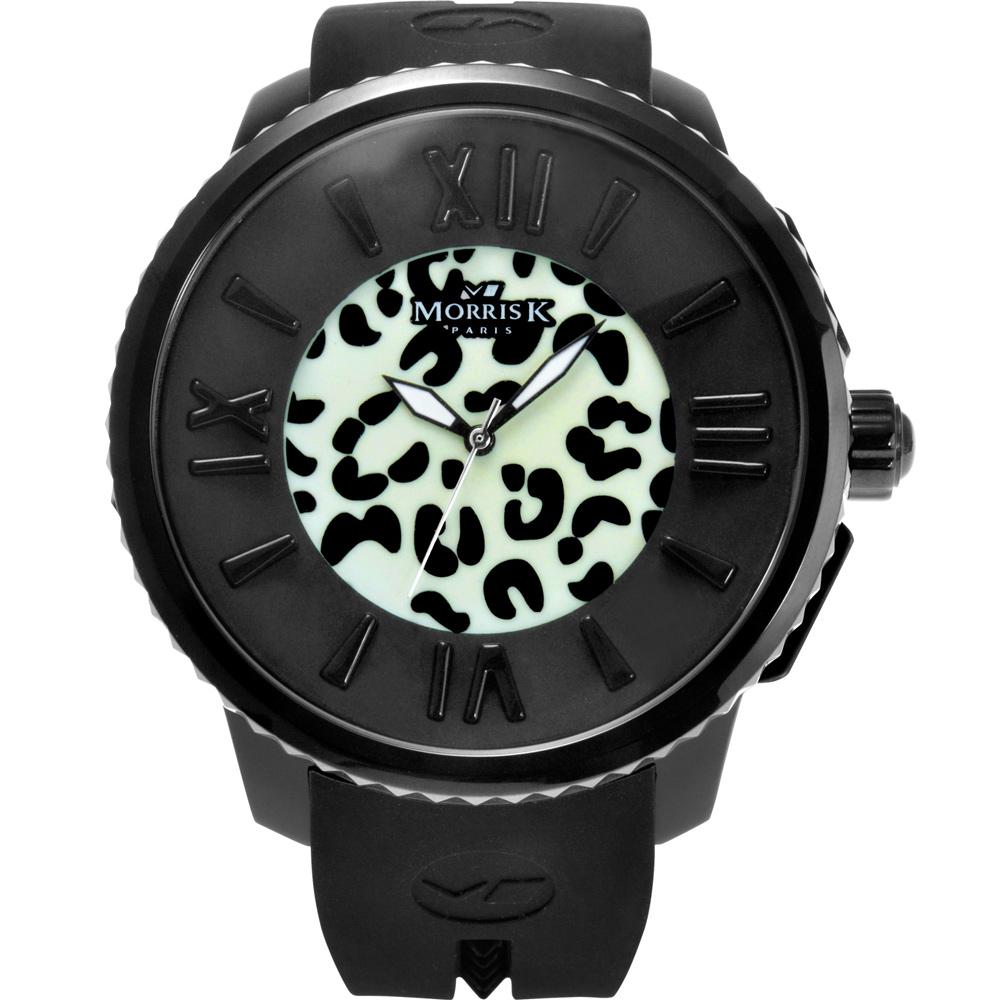 MORRIS K 舞極限狂野花豹紋休閒錶(MK11305-KB203)-夜光黑/50mm
