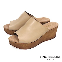 Tino Bellini 西班牙進口極簡質感原色真皮楔型涼拖鞋_ 淺膚