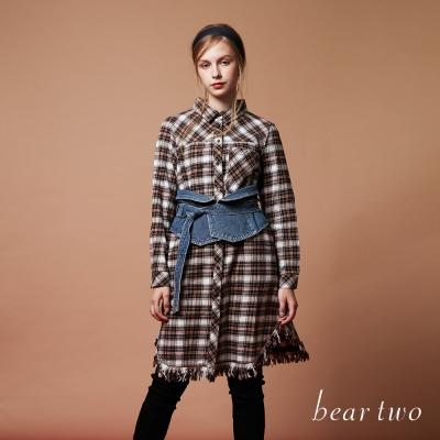 beartwo 開襟格紋襯衫式長版流蘇感洋裝(二色)-動態show