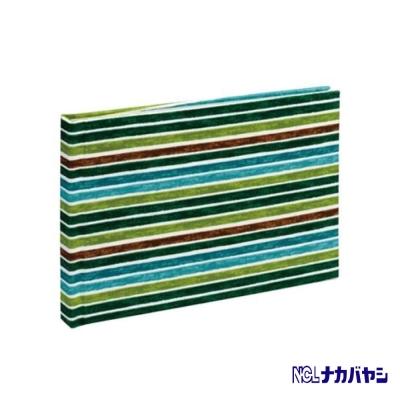 日本 Nakabayashi 自黏相本 麻布系列 條紋相本(綠)