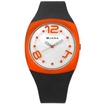 JAGA 捷卡 立體數字刻度運動橡膠手錶-白x橘框x深灰/40mm