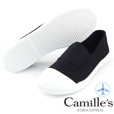 Camille's 韓國空運-正韓製-彩色心情-素面帆布懶人休閒鞋-經典黑