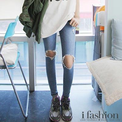 膝蓋破洞淺色貼腿牛仔褲-iFashion