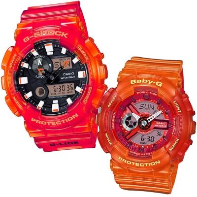 CASIO果凍色澤混色漸層風格休閒錶(BA-110JM-4A+GAX-100MSA-4A)