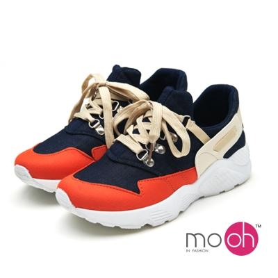 mo.oh-拚色鐵扣厚底潮流運動鞋休閒鞋-橘紅