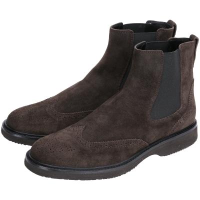 HOGAN 麂皮雕花拼接設計低筒靴(深咖啡色)