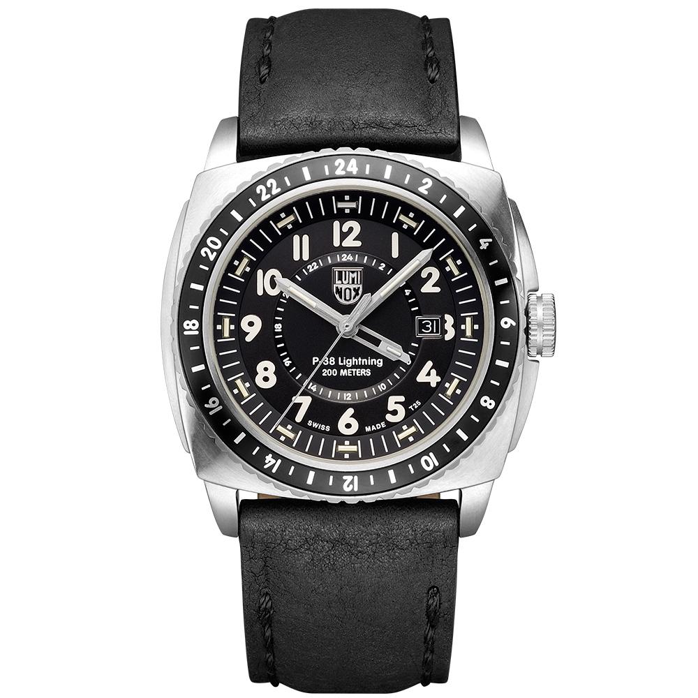 LUMINOX 雷明時P-38閃電式戰機 兩地時間紀念腕錶-黑x銀時標/44mm