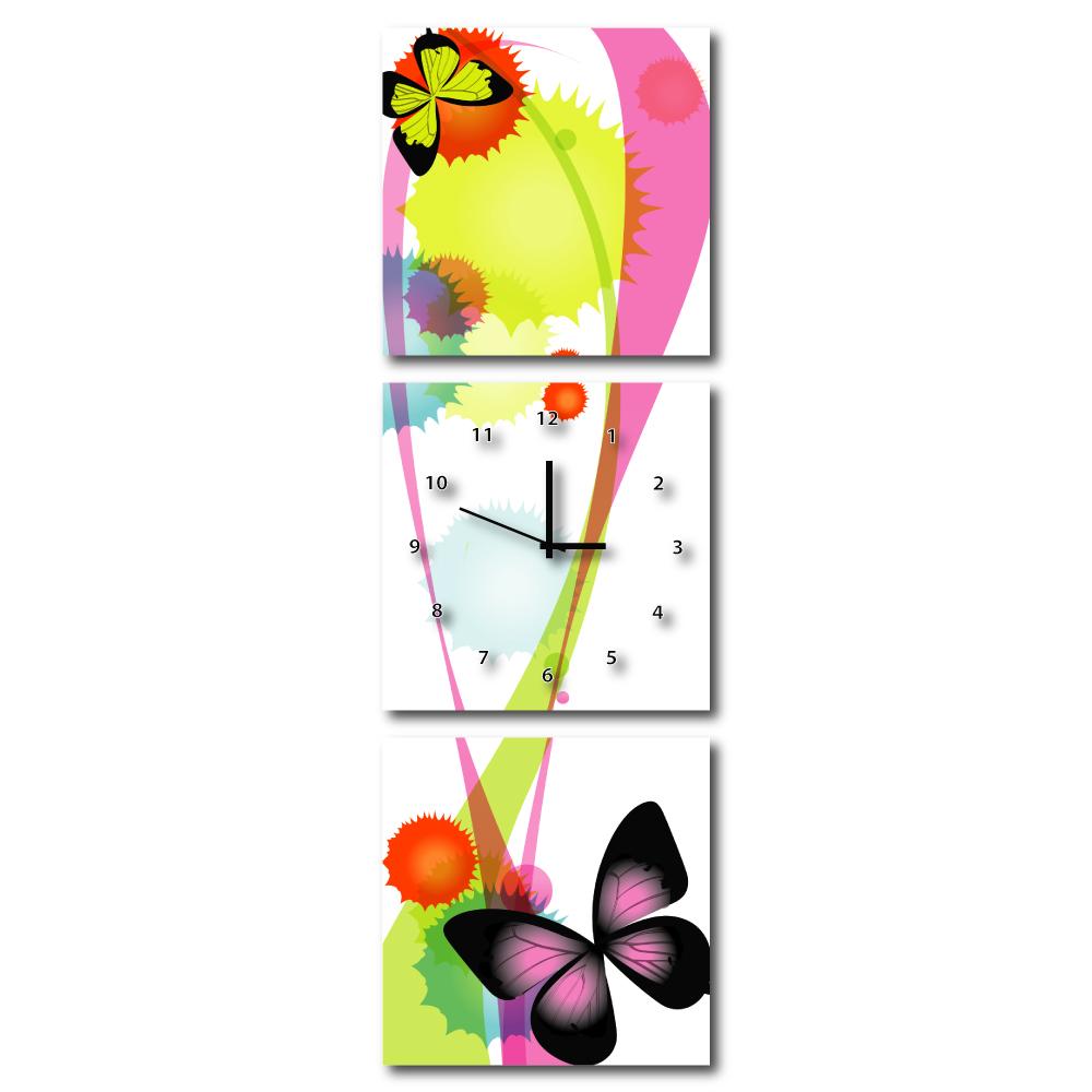 美學365 - 三聯式流行家飾無框藝術掛畫時鐘-花蝶紛飛-50x50cm