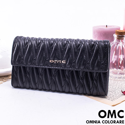 OMC - 韓國專櫃立體抓皺感多卡零錢式真皮長夾-質感黑