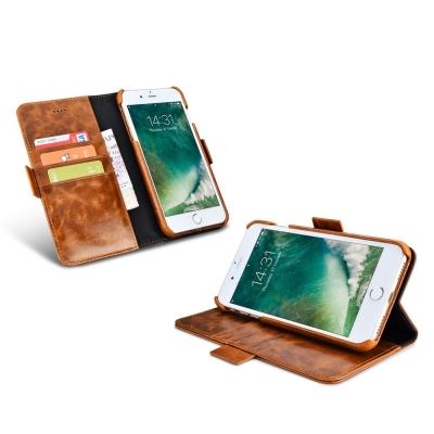 ICARER 復古油蠟iPhone 7 4.7多功能錢包背蓋二合一手工真皮皮套