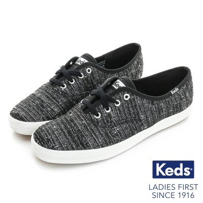 Keds 金屬紗線綁帶休閒鞋-黑色