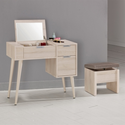 Boden-艾奇3尺掀蓋式化妝桌/鏡台(贈化妝椅)-90x40x78cm