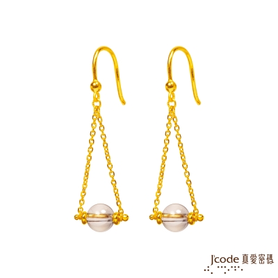 J'code真愛密碼 氣泡黃金/水晶耳環