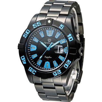 Olympia Star 夜鷹系列 T25 運動型時尚腕錶-藍x黑/44mm