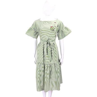 Max Mara-WEEKEND 刺繡蝴蝶綠白條紋荷葉袖綁腰洋裝