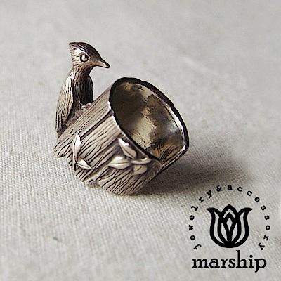 Marship 日本銀飾品牌 啄木鳥耳環 耳骨夾 925純銀 古董銀款