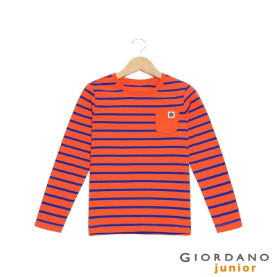 GIORDANO 童裝撞色條紋單口袋棉質長袖T恤- 30 卷丹橙紅/沖浪藍
