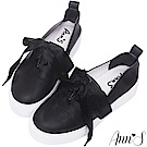 Ann'S激瘦第三代!!!全真牛皮細繩緞帶厚底小白鞋-黑
