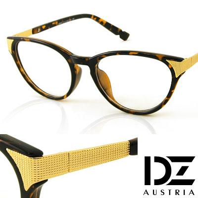 DZ-細格側飾-平光眼鏡-玳瑁