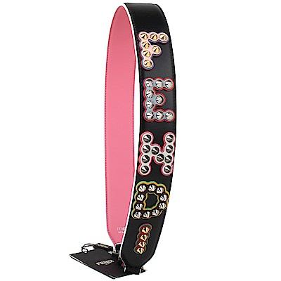 FENDI strap you系列字母鉚釘造型撞色皮革黑釦肩背帶(經典黑/桃紅色)
