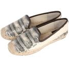 TORY BURCH 蛇紋設計草編平底鞋(黑x米)