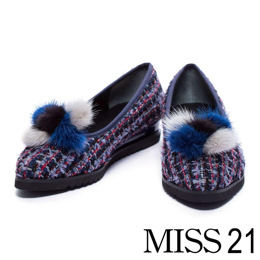 跟鞋 MISS 21 復古活動式毛毛尖頭低跟娃娃鞋-藍