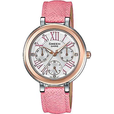 CASIO 卡西歐SHEEN 羅馬晶鑽日曆手錶-玫瑰金圈x粉(SHE-3034BGL-7A