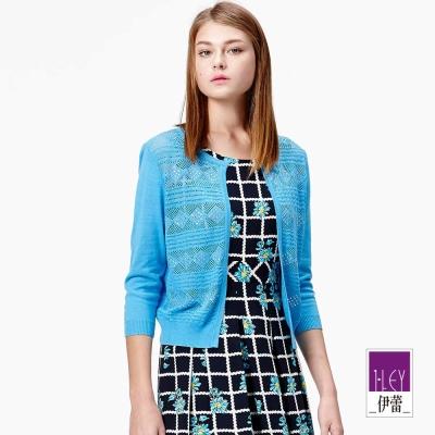 ILEY伊蕾-幾何織紋縷空針織外套-黑-藍