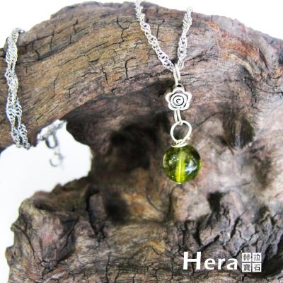 Hera 925純銀手作天然橄欖石花朵項鍊/鎖骨鍊