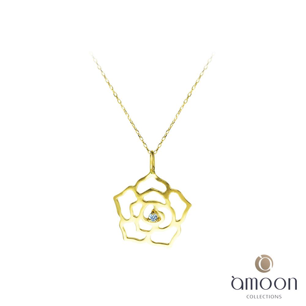 amoon 戀戀東京系列 薔薇 10K金鑽石項鍊-黃K金