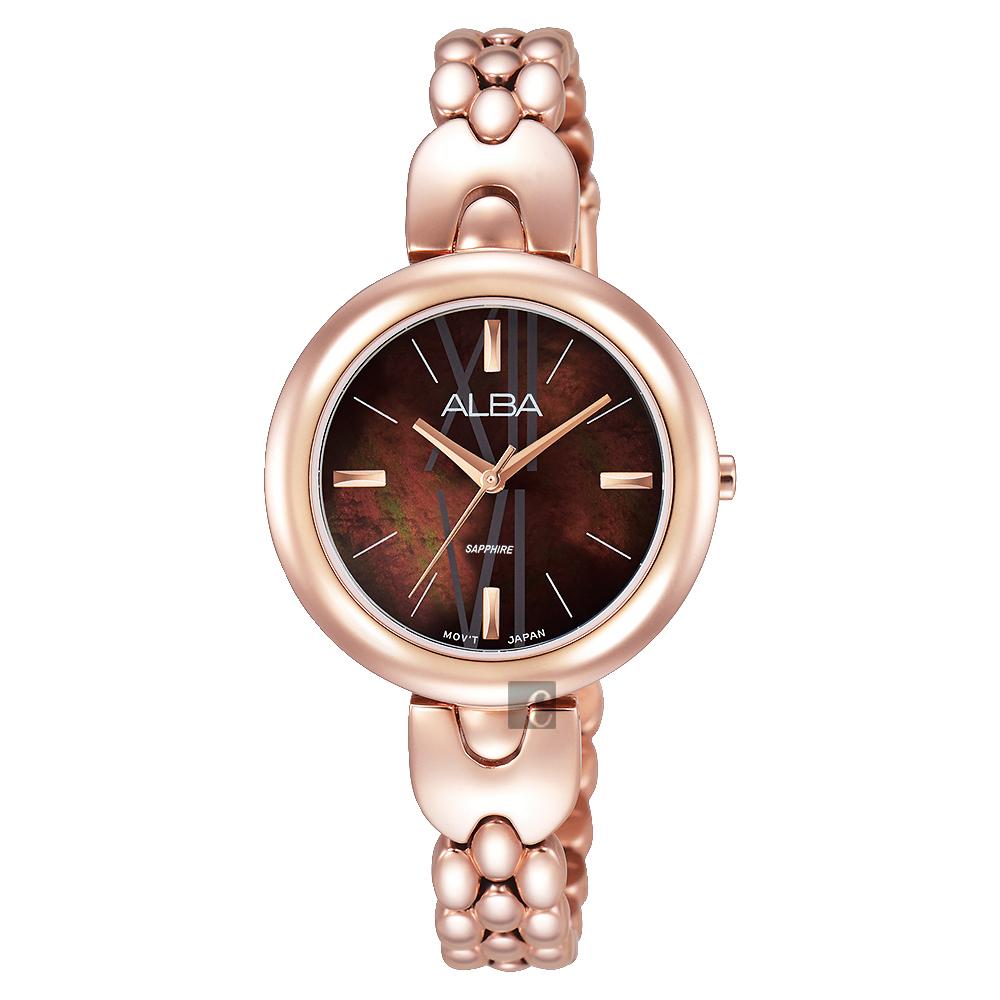 ALBA 優雅風采手鍊女錶(AH8342X1)-咖啡x玫瑰金/28mm