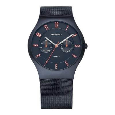 BERING丹麥精品手錶 雙眼顯示鈦合金米蘭錶帶 藍寶石鏡面 北歐藍39mm